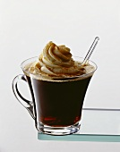 Tropical café (coffee with Bacardi, cream topping, cinnamon)