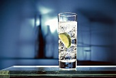 Glass of Sparkling Mineral Water with Lime