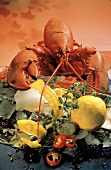 Boiled Lobster on Ice with a Lemon and Lemon Peels