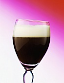 Irish coffee in glass