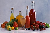 Home-made juices in bottles; fresh fruit & berries