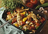 Herb chicken with Provencal vegetables in roasting dish