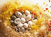 Easter nest with white & painted eggs, quail's- & sugar eggs