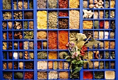 Colorful Assorted Spices from Overhead