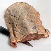 Rack of lamb with fat cut in diamond pattern
