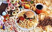 Hamburger, chips, cola, crisps, nibbles for children's party