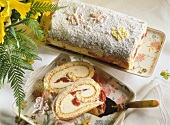 Sponge roll with advocaat quark filling & morello cherries