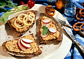 3 pieces wholemeal bread with obatzta (Bavarian cheese spread)