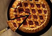 Linzer tart with raspberries