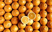 Pile of Oranges; One Cut in Half