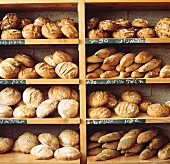 Various breads in rack at Israeli bakery