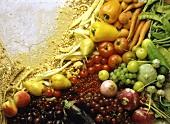 Still life with vegetables, fruit, mushrooms & grain