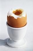 Weichgekochtes Frühstücksei im Eierbecher