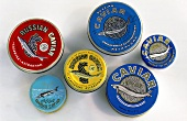 Tins of Russian and Iranian caviar