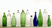 Several bottles of mineral water in a row