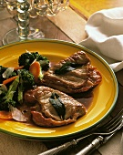 Saltimbocca with broccoli & carrots and parmesan shavings