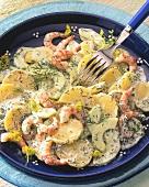Potato & cucumber salad with shrimps & dill cream sauce