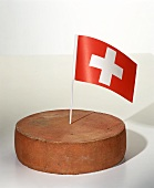 A Wheel of Appenzeller with Swiss Flag