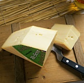 Swiss Raclette cheese (Alt Senn), a section cut