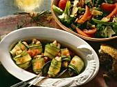 Stuffed courgette rolls and tomato & broccoli salad