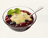 Red fruit compote with custard in glass bowl with spoon