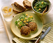 Carrot & mince meatballs with sunflower seeds; salad