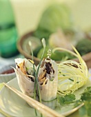 Two Vietnamese spring rolls (with rice paper, vegetables)