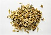 A heap of powdered willow bark (Salix spec.)