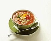 Gazpacho (cold tomato & vegetable soup in soup bowl)