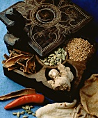 Exotic Spices in a Wooden Box