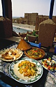 Moroccan couscous dish and accompaniments