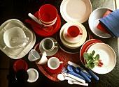 Assorted plastic tableware