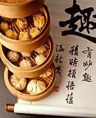 Chinese dim sum (snacks) in steaming basket