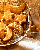 Sweet pastry stars & moons on silver bowl