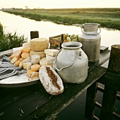 Raw-milk cheese still life with milk cans on river landing pier