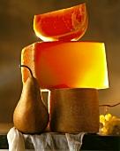 Cheese tower (three hard cheeses), a pear & grapes