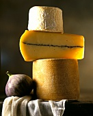 Tower of cheese (three hard cheeses) and a fig