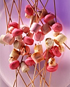 Kebabs with grilled marshmallows & marshmallow mushrooms