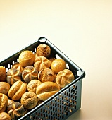 Assorted Rolls in a Plastic Basket