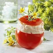 Tomato stuffed with salmon mousse