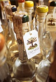 Several Italian grappa bottles (close-up)