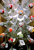 Several Italian grappa bottles (from above)