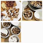 Making mushroom gratin