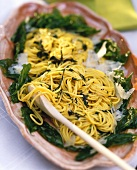 Spaghetti with basil sauce and pecorino cheese, Italy