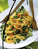Spaghetti Tossed with Tomato Olive Vinaigrette; Parsley