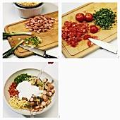 Making Frankfurt noodle salad