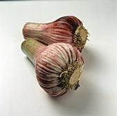 Two red garlic bulbs