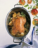 Roast goose with shallots & fresh marjoram in roasting dish