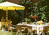 Table in garden set for summer party