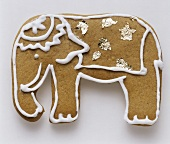 A gingerbread biscuit shaped like an elephant